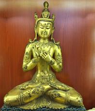 私藏重器 古玩精品古董清早期藏传铜鎏金观音造像馆藏级铜佛像
