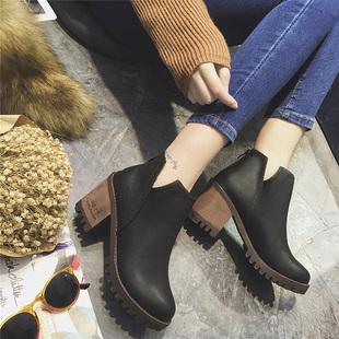 短靴女冬季英伦复古粗跟后拉链切尔西靴高跟裸靴v口靴子女靴棉鞋