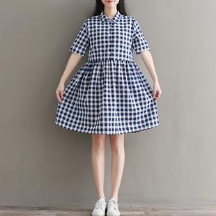 12青少年13大童女孩棉麻连衣裙14 15 16岁女初中生小学生短袖裙子