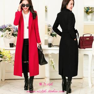 2016秋冬季新款韩版过膝羊绒呢子大衣修身超长款加厚毛呢外套女潮羊绒大衣