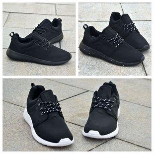 黑色网面男士运动鞋透气跑步男鞋休闲网鞋45大码46革面47加绒棉鞋
