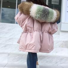 2017新款冬装韩版超大貉子毛领羽绒服女短款加厚宽松收腰保暖外套