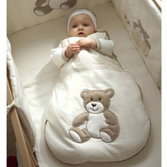 外贸出口法国无袖夏春秋冬全棉绣花可爱小熊婴儿宝宝薄睡袋防踢被