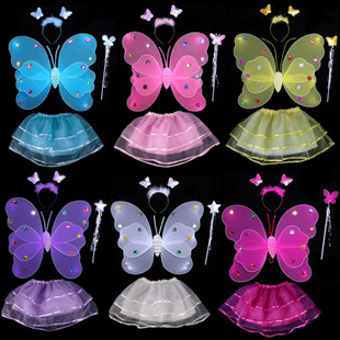 圣诞节演出服装表演装扮道具天使蝴蝶翅膀三件套发光玩具魔法棒