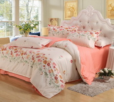 苏迪家纺 四件套全棉纯棉简约1.5米1.8m床被套床单床上用品