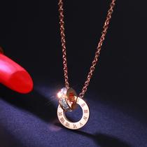 镀玫瑰金罗马数字双环装 陌尚韩版 饰项链女日韩百搭彩金锁骨链饰品