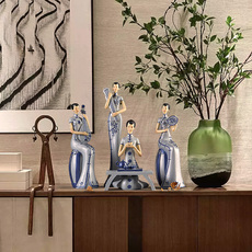 新中式现代中式中国风古典旗袍仕女人物摆件家居装饰工艺品礼品
