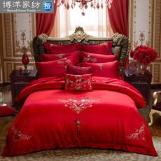 博洋家纺 婚庆六件套结婚床上用品大红色床单被套6件套1.5 1.8m床