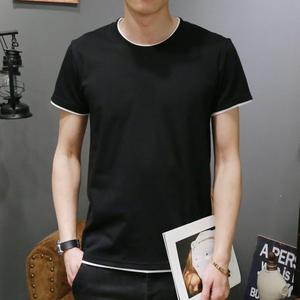 夏季男士短袖T恤圆领纯色体恤打底衫韩版半袖上衣夏装男装黑白潮T恤