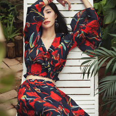 波西米亚长裙沙滩裙泰国海边度假必备喇叭袖雪纺连衣裙夏两件套装