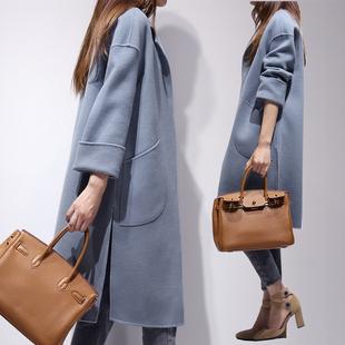 2017春秋装新款韩版中长款呢子大衣翻领时尚修身薄款毛呢外套女装