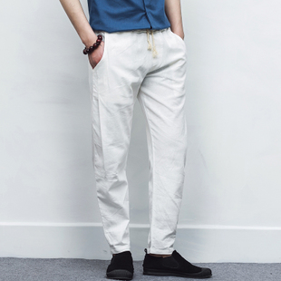 Summer Linen Casual Pants Men Solid Thin Breathable Joggers