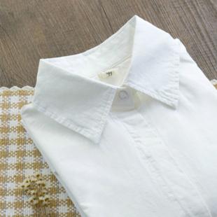 秋装新款纯棉尖领长袖白衬衫韩风休闲百搭修身打底衬衣清新职业装