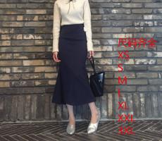 17春夏韩国chic同款 复古百搭高腰显瘦鱼尾裙包臀 半身长裙可定做