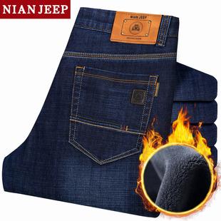 冬季厚款NIAN JEEP加绒牛仔裤 男士高腰商务直筒休闲宽松加厚长裤