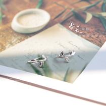 LOSA S925纯银耳钉女日韩气质甜美清新叶子耳环耳钩耳夹饰品