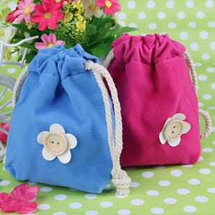 1pc Floret Rope pull-pouch Double Fabric Cotton Cosmetics St