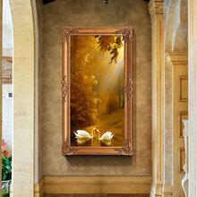 欧式油画纯手绘玄关客厅房间家居装酒店山水风景装饰画动物天鹅湖