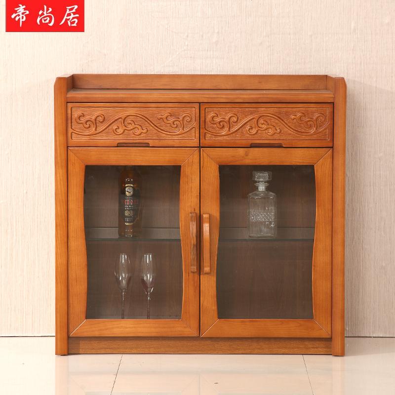 帝尚居水曲柳实木餐边柜现代碗柜厨房柜酒柜餐厅储物柜简约中式