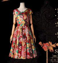 狂生记夏牡丹印花贡缎收腰百搭显瘦连衣裙LA11449W artka夏装 女装