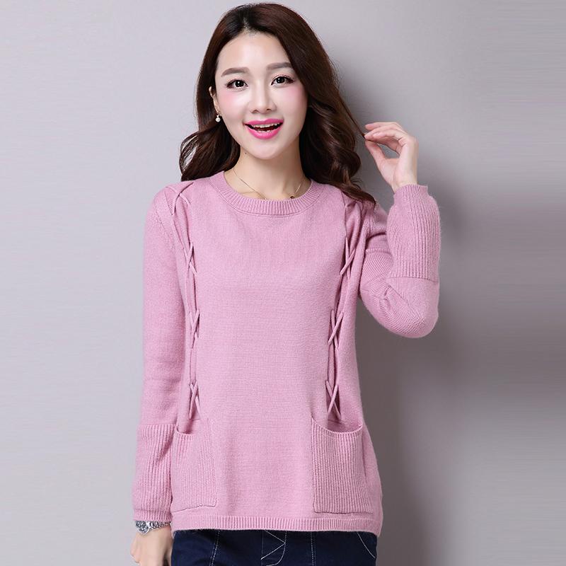 菲瑟2015冬季新款韩版女装大码宽松针织衫套头毛衣修