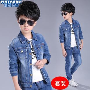 春季男童牛仔套装韩版儿童两件套小男孩韩版休闲夹克潮秋装外套