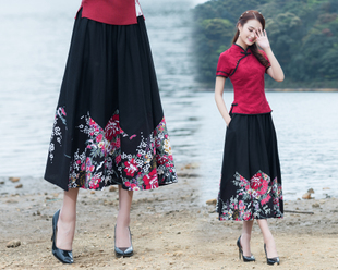 2017新款春夏季民族风女装棉麻复古花布 拼接半身长裙