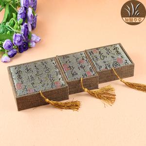 深棕吊穗佛珠包装盒子木质实木麻布珠宝手镯玉器首饰礼品锦盒实木包装盒