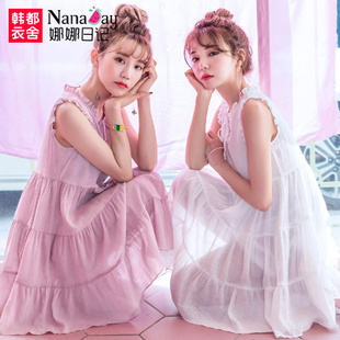 娜娜日记2018夏装新款女装学生无袖连衣裙女短裙宽松显瘦嫤