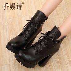 冬季真皮马丁靴女英伦风粗跟高跟靴女款皮靴子潮尖头短靴女鞋