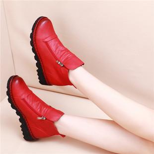 春秋平底女短靴防滑厚底短筒女靴内增高英伦风马丁靴单靴女鞋皮鞋