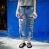 来玩玩时髦 欧美风宽松显瘦大码休闲印花牛仔九分裤垮裤