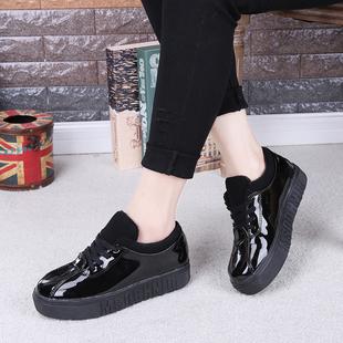新款厚底松糕鞋加绒保暖平底靴系带学生鞋软底女单鞋韩版低帮短靴