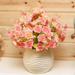 圆形波纹白花瓶+小玫瑰仿真花套装 假花绢花 客厅装饰花 餐桌花