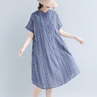夏季新款女装裙子2019文艺胖妹大码宽松显瘦纯棉印花衬衣潮连衣裙