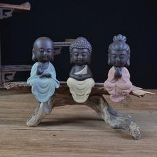 陶瓷佛像风化木工艺品紫砂西方三圣如来观音地藏王菩萨家居小摆件