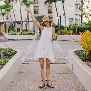 2019夏季新款棉麻无袖气质挂脖连衣裙海边度假显瘦沙滩裙鱼尾裙
