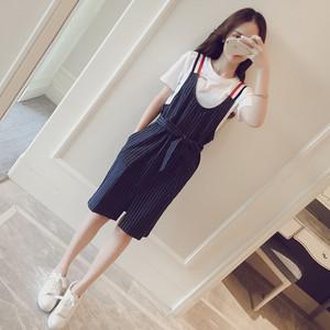 牛仔背带裙女夏季2017韩版新款显瘦收腰竖条纹两件套连衣裙吊带裙