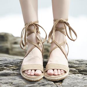 真皮平底休闲女鞋学生韩版百搭凉鞋潮2018夏季新款软妹绑带罗马鞋真皮凉鞋