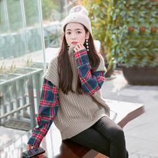 秋冬套头毛衣女假两件韩版宽松粗毛线衣2017秋装新款学生长袖外套
