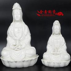 特价包邮景德镇白瓷大小号坐莲观音菩萨佛像佛教用具宗教摆件陶瓷