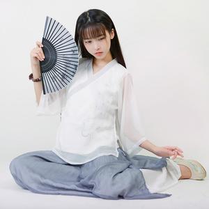 孔雀东南飞-清水溪原创复古中国风手绘日常汉服女交领长袖上衣春旗袍上衣