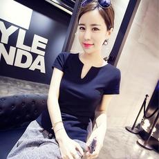纯棉简约打底衫女士短袖韩国修身白色V领t恤女夏季半袖大码紧身潮