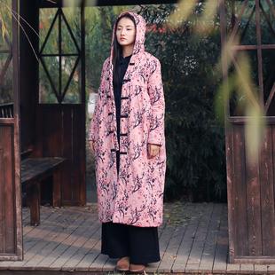 冬季女装棉衣新款原创复古显瘦盘扣印花纯棉加绒外套连帽宽松大衣