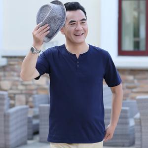 爸爸短袖夏季中年男士t恤圆领40-50岁衣服宽松中老年人半袖夏装薄