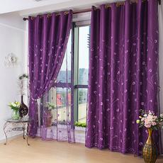 欧式紫色遮光布窗帘高档绣花窗纱卧室客厅特价清仓成品定制田园