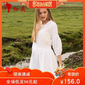 Redhero/红英女装新款甜美复古蕾丝拼接七分灯笼袖连衣裙清纯唯美