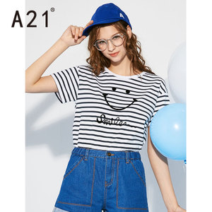 A21<span class=H>女装</span>夏季2018短袖T恤女条纹短款学生少女休闲上衣<span class=H>潮流</span>笑脸体恤