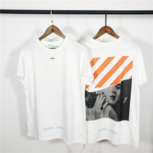 OFF-WHITE C/O VIRGIL ABLOH OW 17FW 橙条梦露拼接短袖TEE