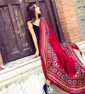 女士夏季薄款棉麻丝巾民族风旅游防晒空调超大披肩韩版沙滩巾围巾